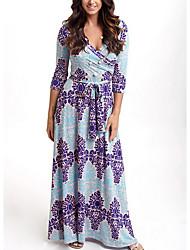 cheap -Women's Street chic Slim Trumpet / Mermaid Dress - Floral Blue Maxi V Neck