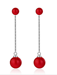 cheap -Women's Hoop Earrings - Pearl, S925 Sterling Silver European, Korean, Fashion Red For Wedding / Daily