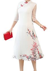 abordables -Femme Vacances Sophistiqué Mince Gaine Robe - Imprimé, Fleur Mao Midi