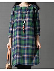 baratos -Mulheres Simples Básico Algodão Reto Vestido Xadrez Altura dos Joelhos