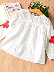 cheap -Girls' Daily School Floral Blouse, Cotton Spring Summer Long Sleeves Cute White
