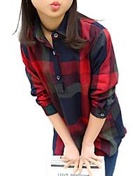 preiswerte -Mädchen Hemd Alltag Ausgehen Schultaschen Verziert Baumwolle Frühling Herbst Langarm Streifen Orange Rote