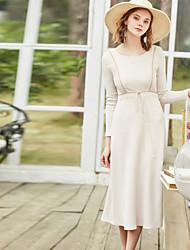 levne -Dámské Vintage Pouzdro Šaty - Jednobarevné, Síťka Midi