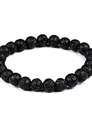 cheap -Men's / Women's Volcanic Stone Strand Bracelet / Bracelet - Bohemian, Gothic, Fashion Bracelet Black For Gift / Evening Party