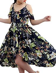 baratos -Menina de Vestido Floral Verão Poliéster Sem Manga Floral Azul Marinha