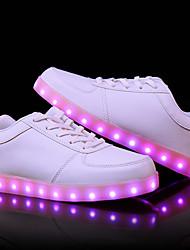 abordables -Femme Unisexe Chaussures Polyuréthane Eté Automne Chaussures Lumineuses Basket Talon Plat Bout rond pour De plein air Blanc Noir