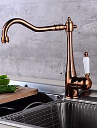 Недорогие -Ванная раковина кран - Фигурные ножки Золотой По центру Одной ручкой одно отверстие