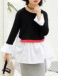 preiswerte -Mädchen T-Shirt Patchwork Kunstseide Frühling Herbst Langarm Schwarz Rote