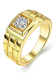 cheap -Men's Band Ring - Zircon, Gold Plated Rock 9 / 10 Gold For Daily / Work