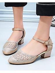 povoljno -Žene Cipele Sintetika, mikrofibra, PU Proljeće Jesen Udobne cipele Sandale Kockasta potpetica za Kauzalni Zlato Crn