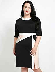cheap -Cute Ann Women's Plus Size Work Slim Shift Sheath T Shirt Dress - Color Block Split