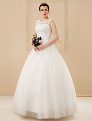 cheap -Ball Gown Scoop Neck Floor Length Beaded Lace Custom Wedding Dresses with Beading Appliques by LAN TING BRIDE®
