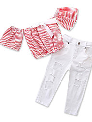 cheap -Kids Toddler Girls' Striped Short Sleeves Clothing Set