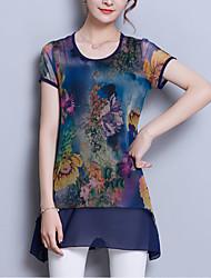 baratos -Mulheres Blusa Básico Moda de Rua Estampado Patchwork,Floral