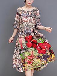 baratos -Mulheres Tamanhos Grandes Para Noite Moda de Rua Solto balanço Vestido Floral Médio