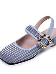 Недорогие -Жен. Обувь Материал на заказ клиента Весна / Осень Туфли лодочки Кеды На толстом каблуке Квадратный носок Зеленый / Синий / Темно-русый