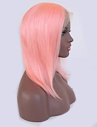 baratos -Cabelo Humano Frente de Malha Peruca Cabelo Brasileiro Liso Rosa Peruca Corte Bob 130% Riscas Naturais / Com nós descorados Rosa Mulheres Curto Perucas de Cabelo Natural