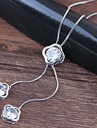 Недорогие -Жен. Ожерелья с подвесками длинное ожерелье Clover европейский Мода Сплав Серебряный 70 cm Ожерелье Бижутерия Назначение Для вечеринок