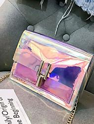 baratos -Mulheres Bolsas PVC Bolsa de Ombro Ziper Azul / Prata / Rosa / Sacos de geléia a laser