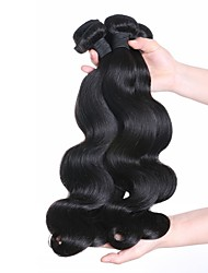 cheap -Malaysian Hair Wavy Human Hair Extensions 3 Bundles 24inch Human Hair Weaves Machine Made Life Natural Black Women's
