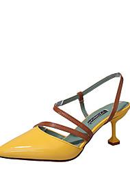 preiswerte -Damen Schuhe PU Sommer Komfort High Heels Walking Stöckelabsatz Spitze Zehe Schnalle für Normal Beige Gelb Rosa