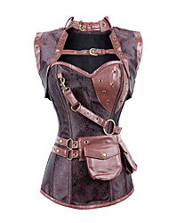 abordables -Steampunk Costume Femme Corset Rouge Vintage Cosplay Polyester Sans Manches