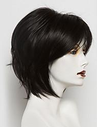 baratos -Perucas de cabelo capless do cabelo humano Cabelo Humano Liso Corte Bob Riscas Naturais Natureza negra Fabrico à Máquina Peruca Mulheres
