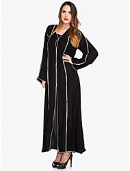 cheap -Women's Sophisticated Street chic Shift Swing Abaya Dress - Solid Colored Striped, Split