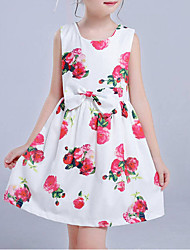 cheap -Girl's Daily Floral Dress Spring Summer Fall Sleeveless Floral Bow White