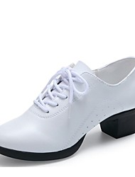 cheap -Women's Dance Sneakers Leather Heel Low Heel Customizable Dance Shoes White / Black / Red