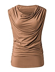 baratos -Mulheres Camiseta Básico Sólido