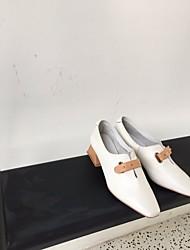 povoljno -Žene Cipele Koža Proljeće Jesen Udobne cipele Natikače i mokasinke Kockasta potpetica za Kauzalni Obala Tamno siva
