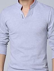 Недорогие -Муж. Polo Рубашечный воротник Тонкие Активный Однотонный / Длинный рукав