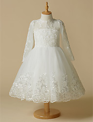cheap -Ball Gown Knee Length Flower Girl Dress - Lace Tulle Long Sleeves Jewel Neck with Lace by LAN TING BRIDE®