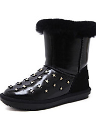 cheap -Women's Shoes Fur Winter Snow Boots Comfort Boots Flat Heel Mid-Calf Boots for Casual White Black