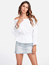 cheap -TS - Dreamy Land Women's Going out Cute Puff Sleeve Polo - Solid Colored Off Shoulder