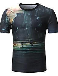 baratos -Homens Tamanhos Grandes Camiseta Activo / Punk & Góticas Estampado, Retrato Linho Decote Redondo / Manga Curta