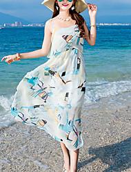 abordables -Femme Vacances Chic de Rue Coton Mince Balançoire Robe Fleur Taille haute Sans Bretelles Bateau Maxi