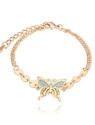 abordables -Femme Zircon Adorable Papillon Bracelet - Mode Européen Or Argent Bracelet Pour Soirée Quotidien