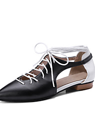 cheap -Women's Shoes PU(Polyurethane) Fall Mary Jane Oxfords Flat Heel Pointed Toe Bowknot Red / Black / White / Light Pink