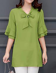 baratos -Mulheres Tamanhos Grandes Blusa - Feriado Básico / Moda de Rua Sólido Decote V Solto / Verão / Com Laço