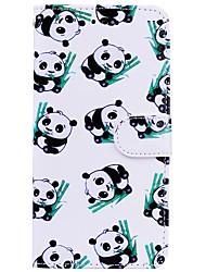 baratos -Capinha Para Huawei P10 Lite P9 Lite Porta-Cartão Carteira Com Suporte Flip Estampada Capa Proteção Completa Panda Rígida PU Leather para
