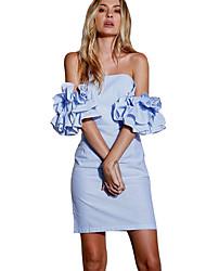 cheap -Women's Going out Street chic Slim A Line Dress - Striped Ruffle High Waist Strapless