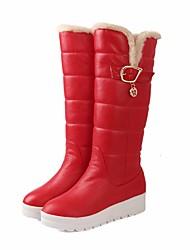 baratos -Mulheres Sapatos Couro Ecológico Inverno Botas de Neve Botas Sem Salto Botas Cano Alto Branco / Preto / Vermelho