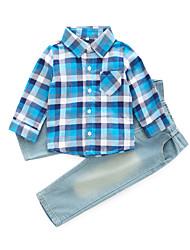 cheap -Boys' Daily Plaid Clothing Set, Cotton Rayon Spring Fall Long Sleeves Basic Blue Red