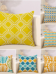 cheap -6 pcs Cotton / Linen Pillow Cover / Novelty Pillow / Pillow Case, Plaid / Checkered / Geometric / Color Block Geometric / Classical