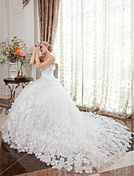 cheap -Ball Gown Strapless Chapel Train Satin Tulle Custom Wedding Dresses with Crystal Detailing Flower by LAN TING BRIDE®