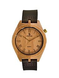 お買い得  -男性用 クォーツ 腕時計 ウッド 日本産 木製 本革 バンド ヴィンテージ ブラウン