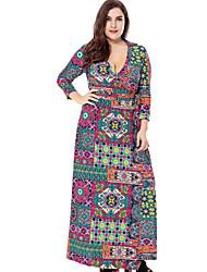 cheap -Women's Street chic Slim Sheath Dress - Geometric Maxi V Neck