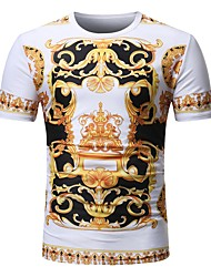 cheap -Men's Basic / Street chic Plus Size Cotton T-shirt - Tribal Print Round Neck / Short Sleeve